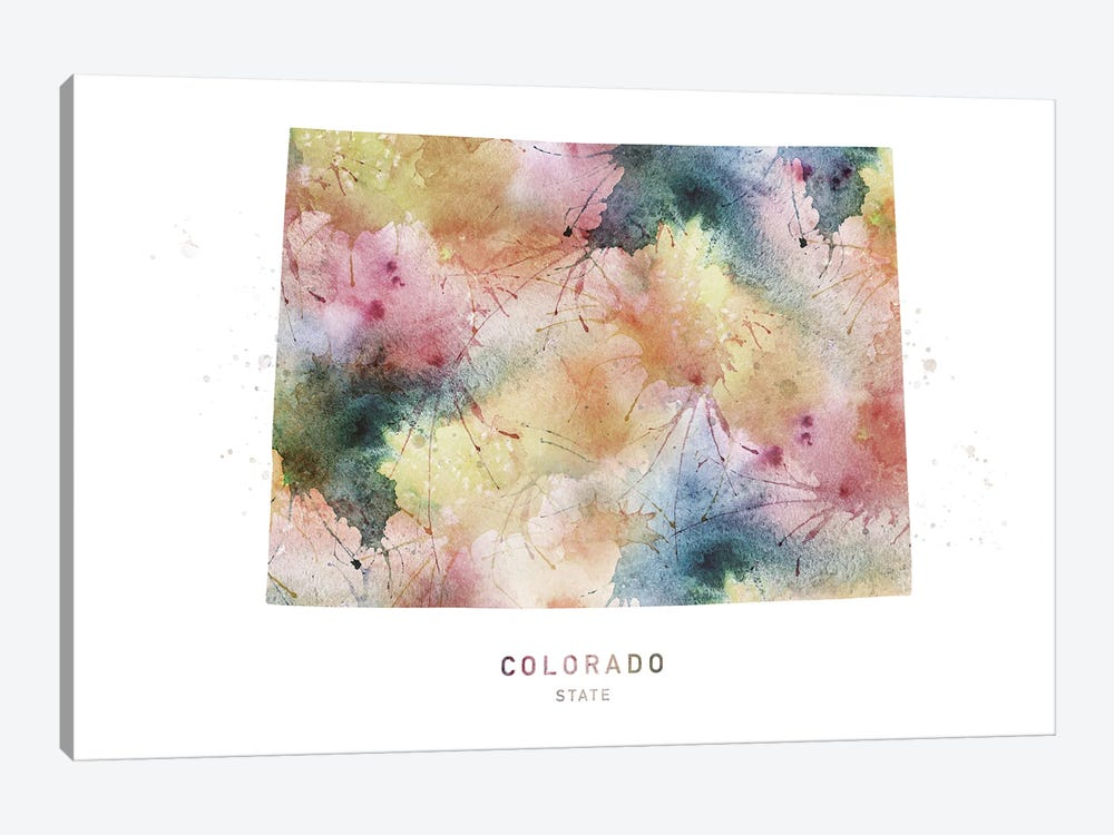 Colorado Watercolor State Map by WallDecorAddict 1-piece Canvas Artwork