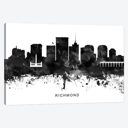 Richmond Skyline Black & White Canvas Print #WDA841} by WallDecorAddict Canvas Art Print