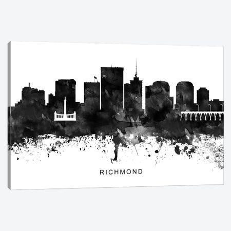 Richmond Skyline Black & White Canvas Print #WDA841} by WallDecorAddict Canvas Art Print