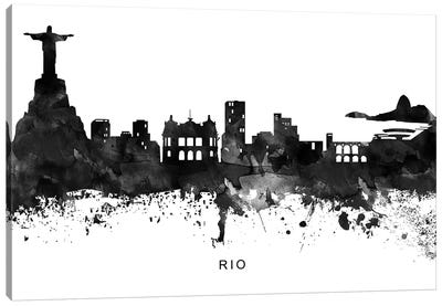Rio Skyline Black & White Canvas Art Print