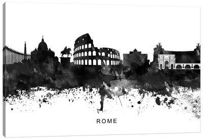 Rome Skyline Black & White Canvas Art Print