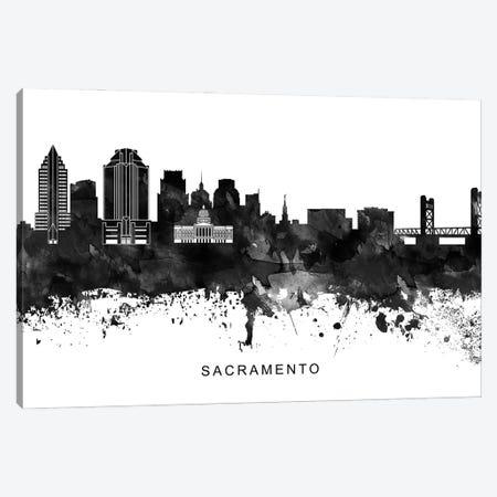 Sacramento Skyline Black & White Canvas Print #WDA845} by WallDecorAddict Canvas Artwork