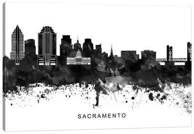 Sacramento Skyline Black & White Canvas Art Print