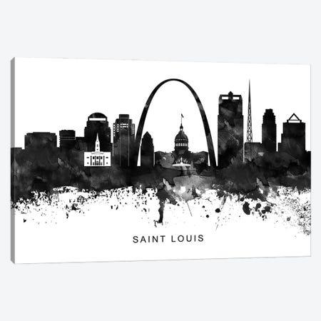 Saint Louis Skyline Black & White Canvas Print #WDA846} by WallDecorAddict Canvas Wall Art