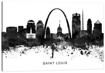 Saint Louis Skyline Black & White Canvas Art Print