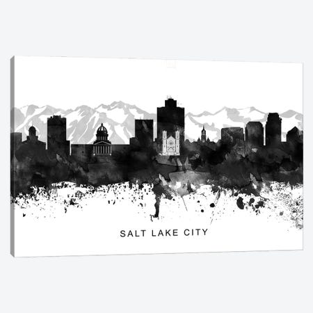 Salt Lake Skyline Black & White Canvas Print #WDA847} by WallDecorAddict Canvas Wall Art