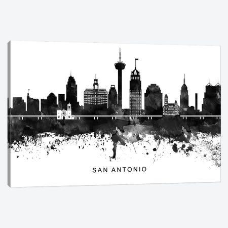 San Antonio Skyline Black & White Canvas Print #WDA848} by WallDecorAddict Canvas Print
