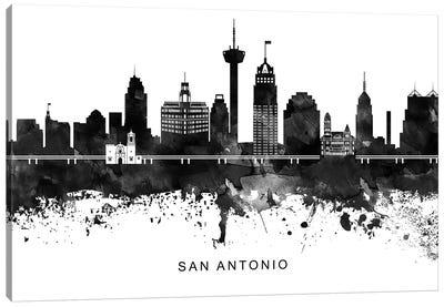 San Antonio Skyline Black & White Canvas Art Print