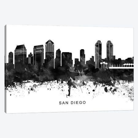 San Diego Skyline Black & White Canvas Print #WDA849} by WallDecorAddict Canvas Art Print