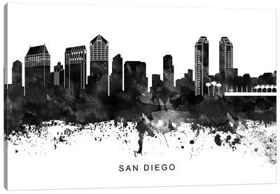 San Diego Skyline Black & White Canvas Art Print