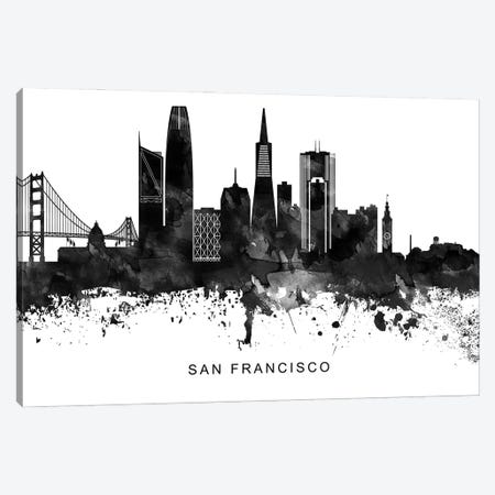 San Francisco Skyline Black & White Canvas Print #WDA850} by WallDecorAddict Canvas Artwork