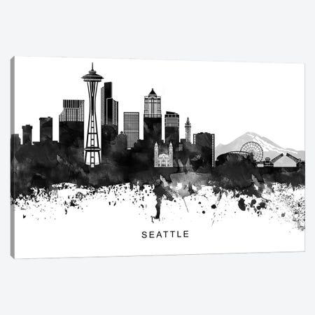 Seattle Skyline Black & White Canvas Print #WDA852} by WallDecorAddict Canvas Art