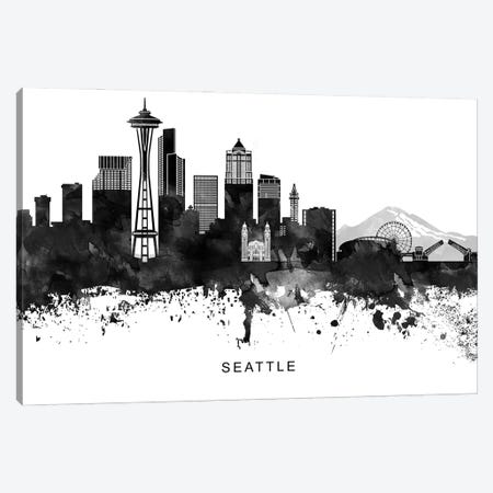 Seattle Skyline Black & White Canvas Print #WDA852} by WallDecorAddict Canvas Art