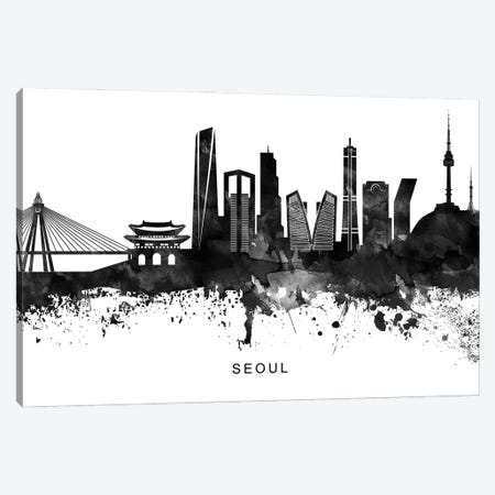 Seoul Skyline Black & White Canvas Print #WDA853} by WallDecorAddict Canvas Art
