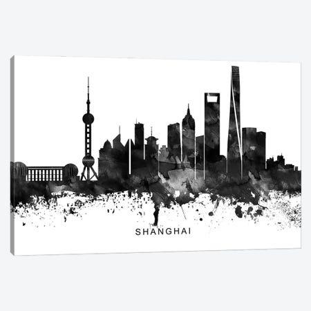 Shanghai Skyline Black & White Canvas Print #WDA854} by WallDecorAddict Canvas Print