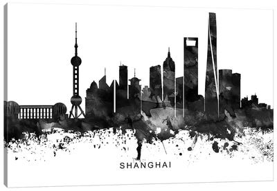 Shanghai Skyline Black & White Canvas Art Print