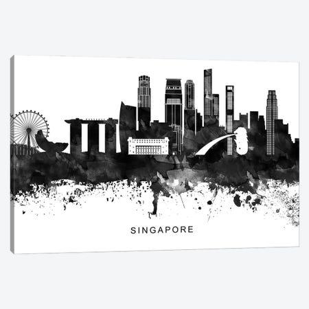 Singapore Skyline Black & White Canvas Print #WDA855} by WallDecorAddict Art Print