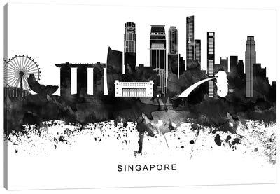 Singapore Skyline Black & White Canvas Art Print