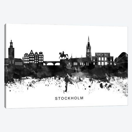 Stockholm Skyline Black & White Canvas Print #WDA856} by WallDecorAddict Canvas Print