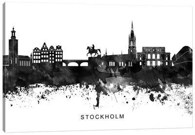 Stockholm Skyline Black & White Canvas Art Print