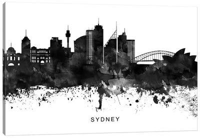 Sydney Skyline Black & White Canvas Art Print