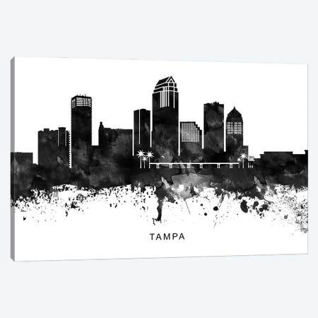 Tampa Skyline Black & White Canvas Print #WDA859} by WallDecorAddict Canvas Artwork