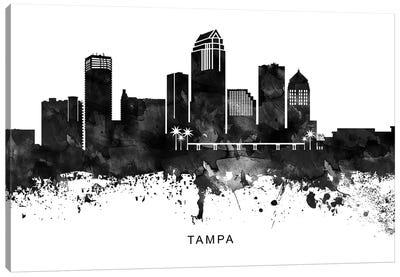 Tampa Skyline Black & White Canvas Art Print