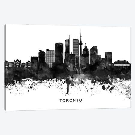 Toronto Skyline Black & White Canvas Print #WDA862} by WallDecorAddict Art Print