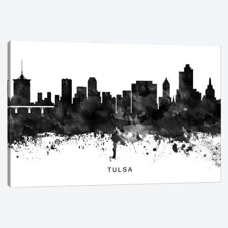 Tulsa Skyline Black & White Canvas Print #WDA863} by WallDecorAddict Canvas Print