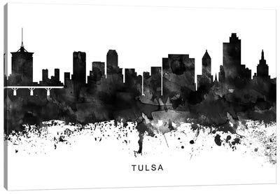 Tulsa Skyline Black & White Canvas Art Print