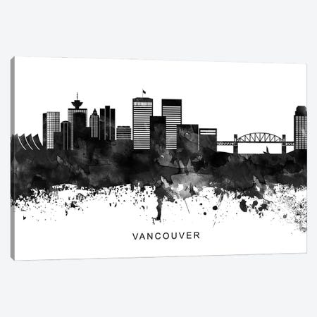 Vancouver Skyline Black & White Canvas Print #WDA864} by WallDecorAddict Canvas Wall Art