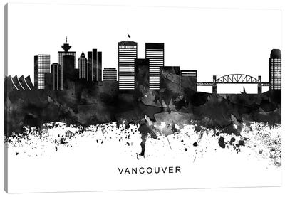 Vancouver Skyline Black & White Canvas Art Print