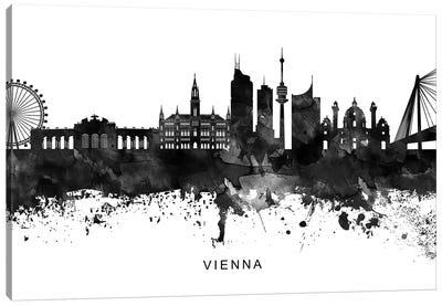 Vienna Skyline Black & White Canvas Art Print