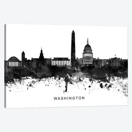 Washington Skyline Black & White Canvas Print #WDA869} by WallDecorAddict Art Print