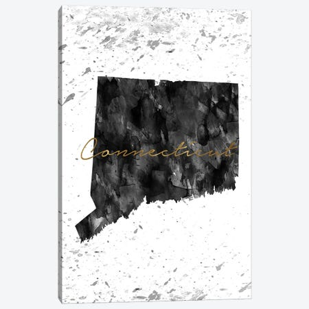 Connecticut Black And White Gold Canvas Print #WDA86} by WallDecorAddict Canvas Artwork