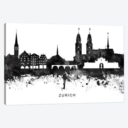 Zurich Skyline Black & White Canvas Print #WDA872} by WallDecorAddict Canvas Artwork