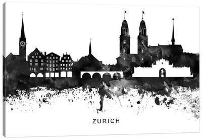 Zurich Skyline Black & White Canvas Art Print