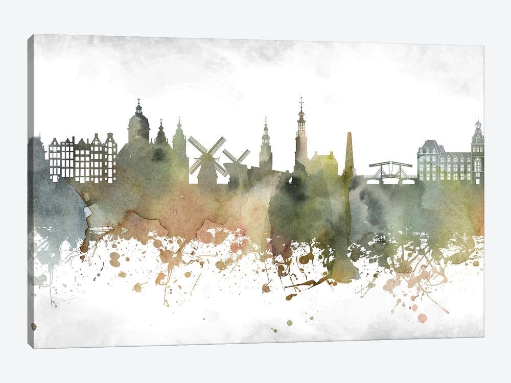 Amsterdam Skyline by WallDecorAddict 1-piece Canvas Art Print