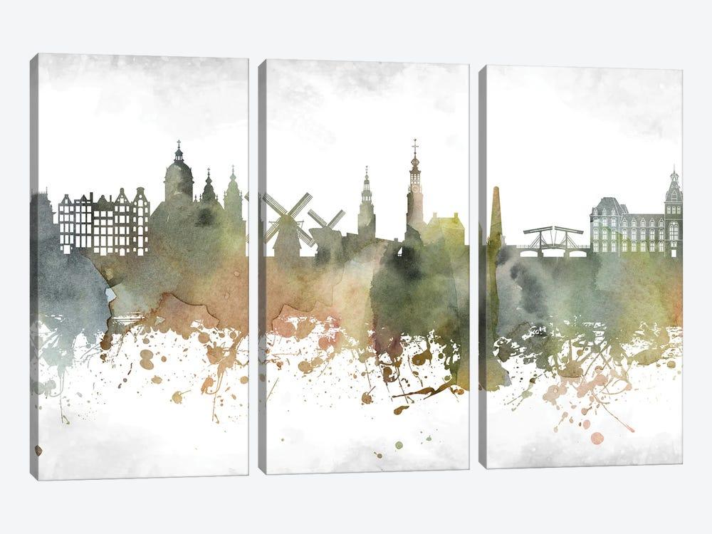 Amsterdam Skyline by WallDecorAddict 3-piece Canvas Art Print