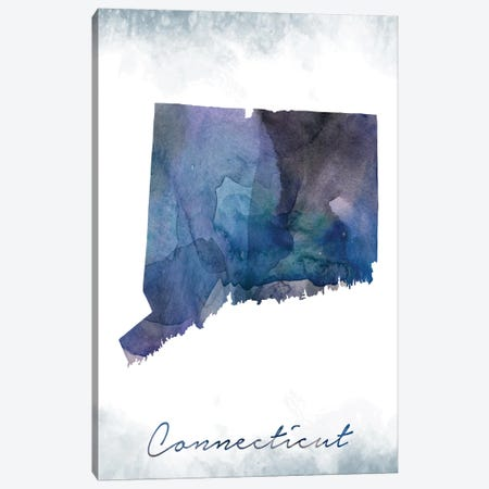 Connecticut State Bluish Canvas Print #WDA87} by WallDecorAddict Canvas Art