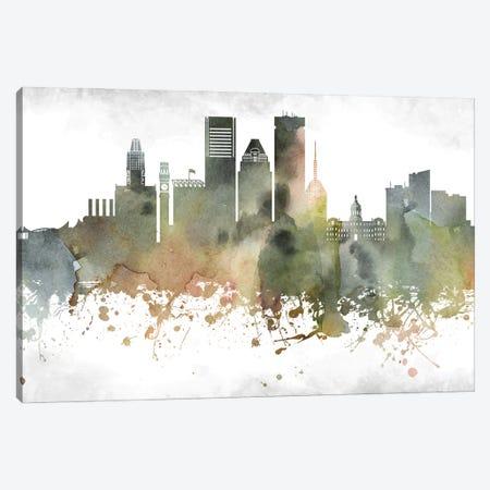 Baltimore Skyline Canvas Print #WDA881} by WallDecorAddict Art Print