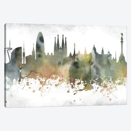Barcelona Skyline Canvas Print #WDA883} by WallDecorAddict Art Print