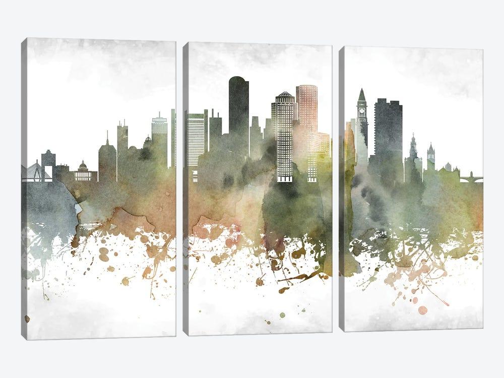 Boston Skyline by WallDecorAddict 3-piece Canvas Art