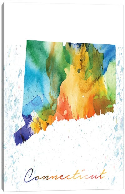 Connecticut State Colorful Canvas Art Print