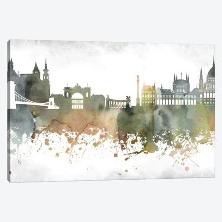 Budapest Skyline Canvas Print #WDA890} by WallDecorAddict Canvas Art