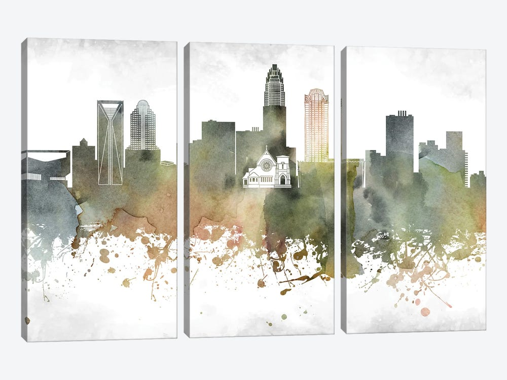Charlotte Skyline by WallDecorAddict 3-piece Canvas Art