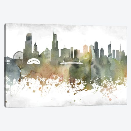 Chicago Skyline Canvas Print #WDA898} by WallDecorAddict Canvas Wall Art