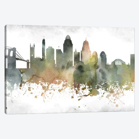Cincinnati Skyline Canvas Print #WDA899} by WallDecorAddict Canvas Artwork