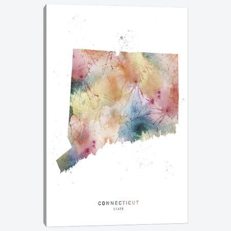 Connecticut State Watercolor Canvas Print #WDA89} by WallDecorAddict Canvas Print