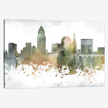Cleveland Greenish Skyline Canvas Print #WDA902} by WallDecorAddict Canvas Art